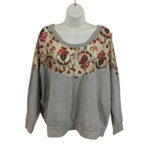 Free People Sheer Floral Mesh Sweatshirt Top